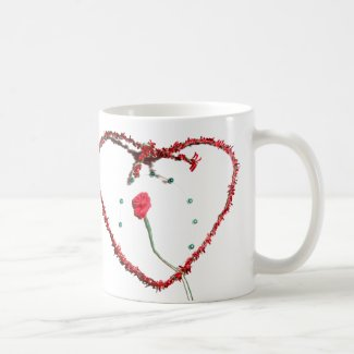 Valentines Day Love Heart Rose Mug