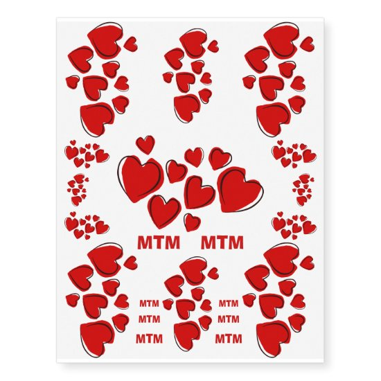 Valentines Day Love Hearts and Valentine Initials Temporary Tattoos