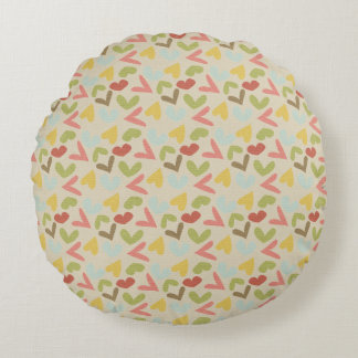 Valentines day love hearts colorful pattern round pillow