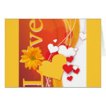 """Valentine's Day """"Love"""" with Red, White, Gold Heart Card"""