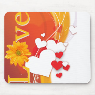 """Valentine's Day """"Love"""" with Red, White, Gold Heart Mouse Pad"""