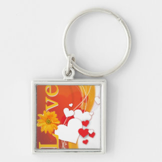 """Valentine's Day """"Love"""" with Red, White, Gold Heart Silver-Colored Square Keychain"""
