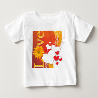 """Valentine's Day """"Love"""" with Red, White, Gold Heart T Shirt"""