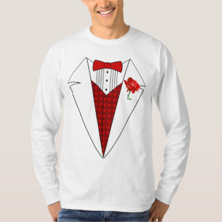Valentine's Day Lover Tuxedo T-Shirt with Red Rose