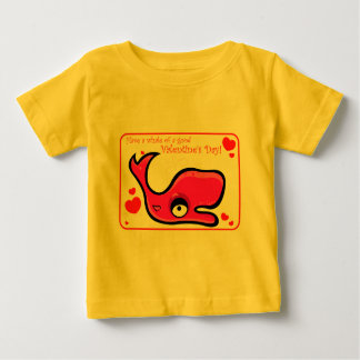 Valentine's Day Lovey Dovey Whale Illustration Baby T-Shirt