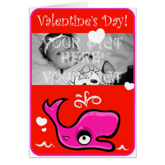Valentine's Day Lovey Dovey Whale Illustration Card