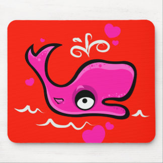 Valentine's Day Lovey Dovey Whale Illustration Mouse Pad