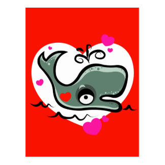 Valentine's Day Lovey Dovey Whale Illustration Postcard