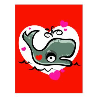 Valentine's Day Lovey Dovey Whale Illustration Postcard