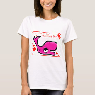 Valentine's Day Lovey Dovey Whale Illustration T-Shirt