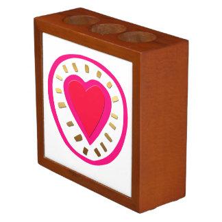Valentine's Day Modern Pink Heart 1 Desk Organizer