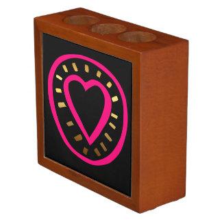 Valentine's Day Modern Pink Heart 2 Desk Organizer