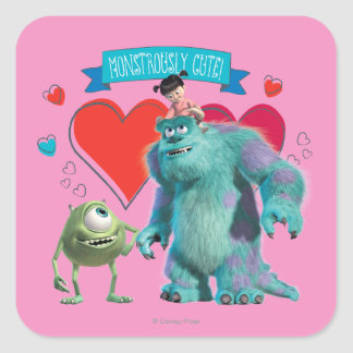 Valentine's Day - Monsters Inc. Square Stickers