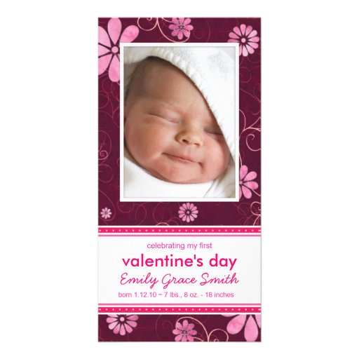 Valentine's Day - New Baby Announcement Photo Card Template