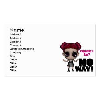 valentines day no way punk girl Double-Sided standard business cards (Pack of 100)