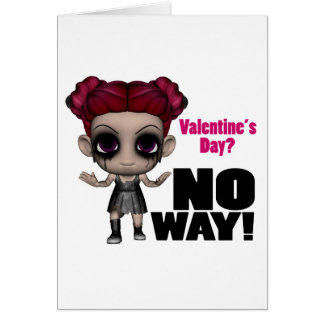 valentines day no way punk girl greeting card