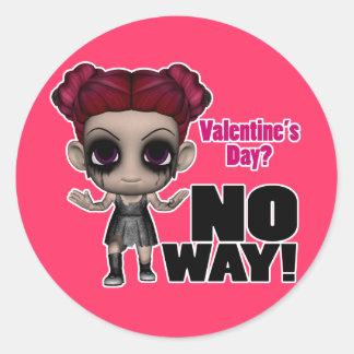 valentines day no way punk girl classic round sticker
