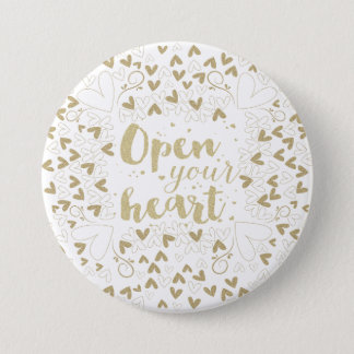 """Valentine's Day - """"Open Your Heart"""" Gold Pinback Button"""