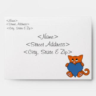 Valentine's Day Orange Cat with Blue Heart Envelope