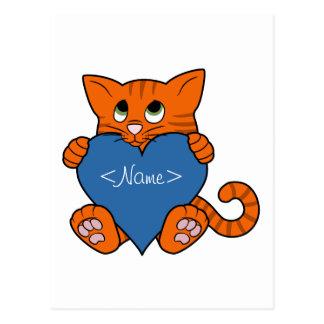 Valentine's Day Orange Cat with Blue Heart Postcard