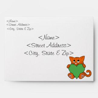 Valentine's Day Orange Cat with Green Heart Envelope