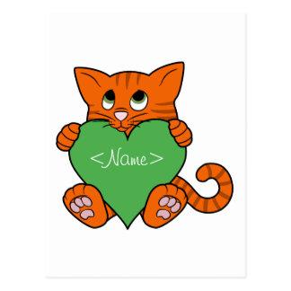 Valentine's Day Orange Cat with Green Heart Postcard