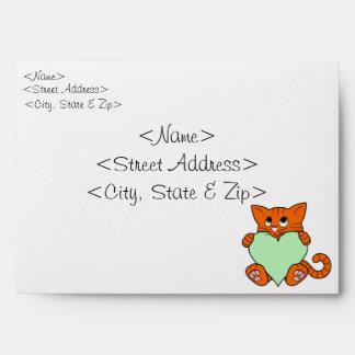 Valentine's Day Orange Cat with Light Green Heart Envelope