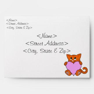 Valentine's Day Orange Cat with Light Pink Heart Envelope
