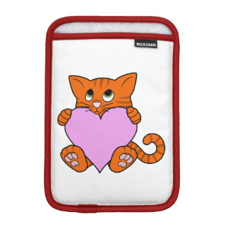 Valentine's Day Orange Cat with Light Pink Heart iPad Mini Sleeve