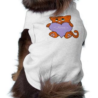 Valentine's Day Orange Cat with Light Purple Heart T-Shirt