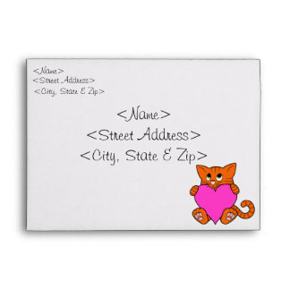 Valentine's Day Orange Cat with Pink Heart Envelope