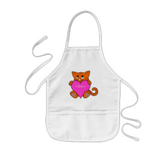 Valentine's Day Orange Cat with Pink Heart Kids' Apron