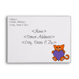 Valentine's Day Orange Cat with Purple Heart Envelope
