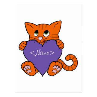 Valentine's Day Orange Cat with Purple Heart Postcard