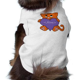 Valentine's Day Orange Cat with Purple Heart Shirt