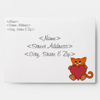 Valentine's Day Orange Cat with Red Heart Envelope