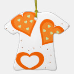 Valentines Day Orange Hearts Christmas Ornament