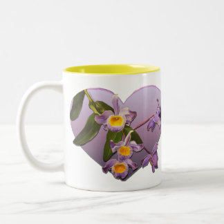 Valentine's Day Orchids Two-Tone Coffee Mug