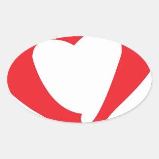 Valentines day oval sticker