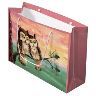 Valentine's Day owl couple sunset love Large Gift Bag
