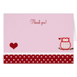 Valentines Day Owl Folded Thank you Note Card