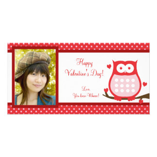 Valentine's Day Owl Photo Card Send Your Love!
