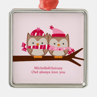 Valentines Day Owls Metal Ornament