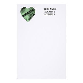 Valentine's Day pale green steampunk heart Stationery