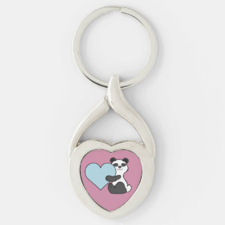 Valentine's Day Panda Bear with Light Blue Heart Keychain