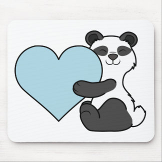 Valentine's Day Panda Bear with Light Blue Heart Mouse Pad