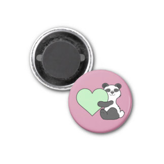 Valentine's Day Panda Bear with Light Green Heart 1 Inch Round Magnet