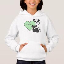 Valentine's Day Panda Bear with Light Green Heart Hoodie