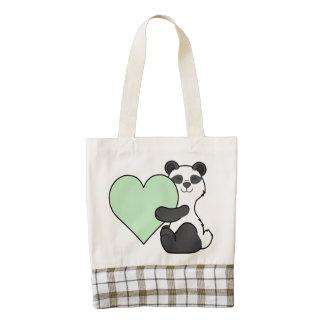 Valentine's Day Panda Bear with Light Green Heart Zazzle HEART Tote Bag