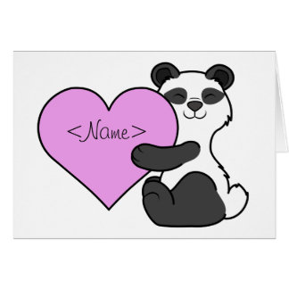 Valentine's Day Panda Bear with Light Pink Heart Card